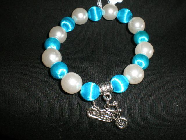 NeW Harley Inspired Charming  Beads Stretch Motorcycle Biker  Bracelet
