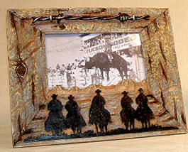 Rustic Cowboy and Barbed Wire Western Picture Frame 4x6 - $16.98