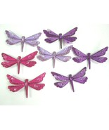 7 Dragonfly FIGURINE  Glittered Bejeweled Purple Fuchsia Lavender  - $16.83