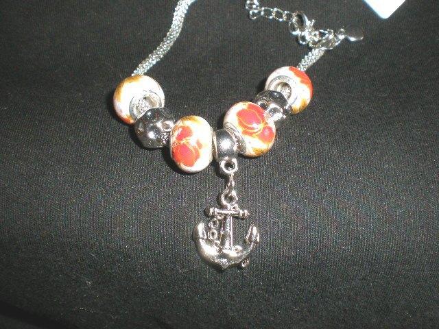 NeW Sailor Anchor Charm Ship  European Beads Chain Bangle Bracelet