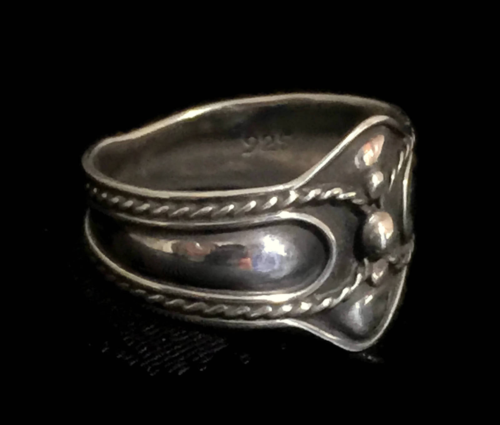 Vintage Cigar Band Sterling Silver Thumb Ring Rope Ball Design Size 7