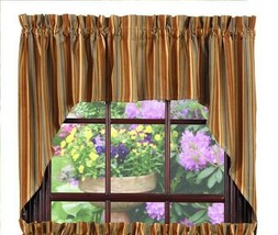 country cabin lodge farmhouse Cordwood tan brown blue stripes Swag Curtains - $39.95