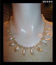 Carved Lustrous MOTHER of PEARL 18 inch NECKLACE - FREE SHIPPING - $125.00