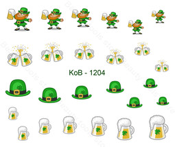 Nail Art Water Transfer Sticker St. Patrick 's Day Green Hat Gold Coin K... - $2.99