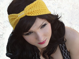 Crocheted Turban Bow Headband with Rhinestone Crystal Trim, Many Colors ... - $12.00