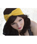 Crocheted Turban Bow Headband with Rhinestone C... - $12.00