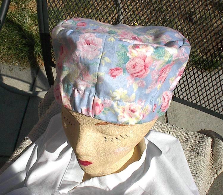 Cloth Scrub Cap, Elastic Band COOK SKULLCAP, Blue and Pink R