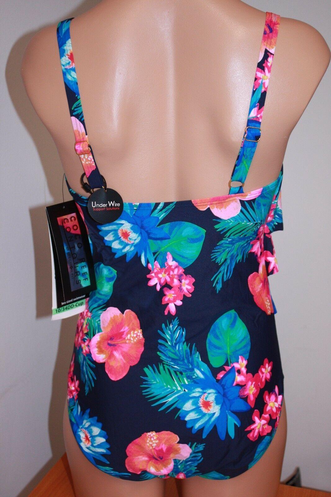 NWT Coco Reef Swimsuit Bikini 1 one  piece Sz 10 34DD  Ruffle Maillot Navy Capta