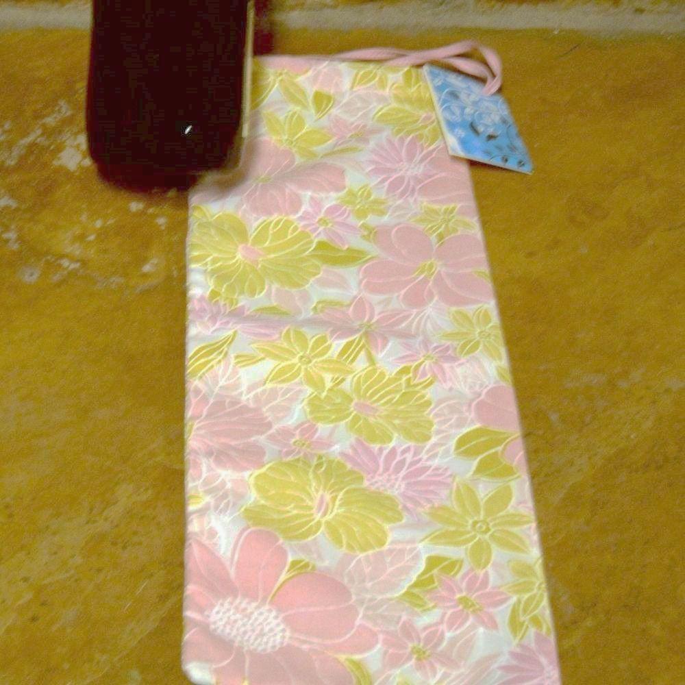 Wine Bottle Fabric Drawstring Gift Bag, Light Pink N Green F