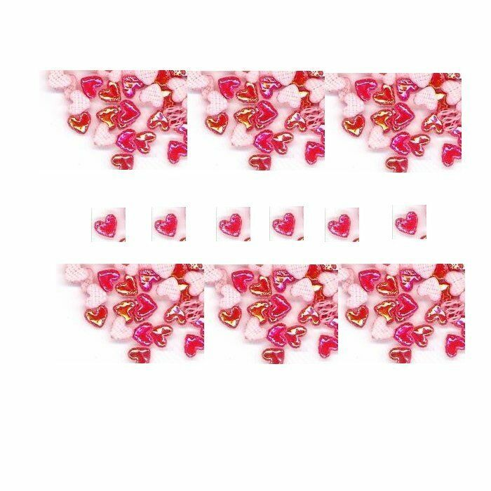 100  Iridescent AB  RED  3D  Puffy HEARTS  Shapes
