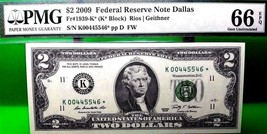 MONEY US $2 2009 FEDERAL RESERVE STAR NOTE DALLAS PMG FR - 1939 K* VALUE... - $540.00