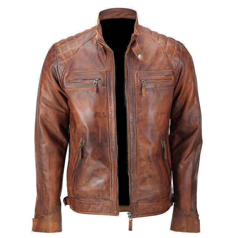 Mens Vintage Biker Distressed Brown Motorcycle Quilted Cafe Racer Leather Jacket
