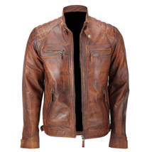 Mens Vintage Biker Distressed Brown Motorcycle Quilted Cafe Racer Leather Jacket image 1