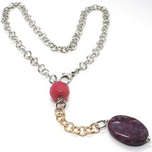 Necklace Silver 925 Pink, Jade Purple Oval, Chain Rolo ' Hammered - $151.04