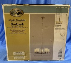 Hampton Bay - Burbank 5 - Light Brushed Nickel Chandelier w/ Dual Glass ... - $178.19