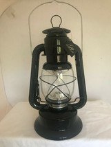 "11"" LED Lighted Metal & Glass Lantern with Handle - Black Colored Finish NEW image 2"
