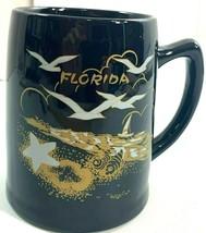 Florida State Beer Mug Black Stein Souvenir Beach Scene with Seagulls 5.... - $14.95