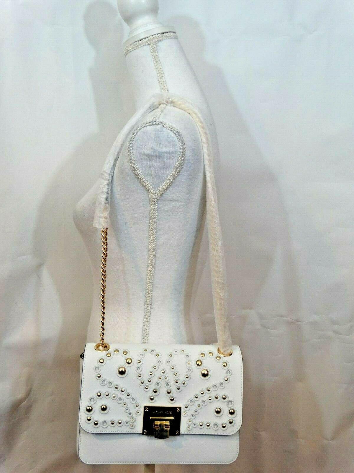 5648269c91f8 Michael Kors Tina Optic White Gold Stud Shoulder Bag (Retail 398) New With  Tag