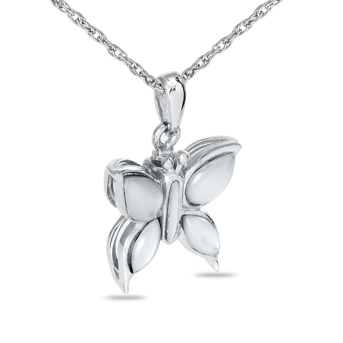 Sterling Silver White Butterfly Pendant/Necklace Funeral Cremation Urn for Ashes