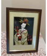 Lovely Japan Geisha Figurine Statue Doll Framed in 3D Shadow Box - $126.99