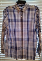 New Men's Tommy Hilfiger Slim Fit Button Down Blue Plaid Shirt L 16.5 32/33 - $24.30