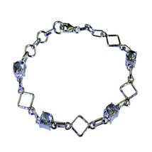 Genuine Green Amethyst 925 Bracelet For Women Link Style February L 6.5-... - $44.85