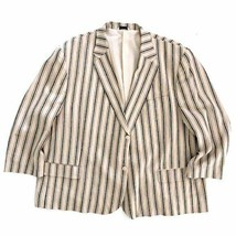 Kings Court Mens 60 Big Striped Linen Blend Blazer Sport Coat Jacket  - $60.00