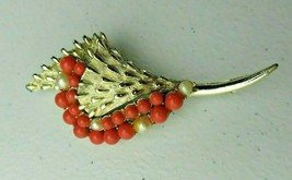 Vintage signed Coro silver tone & faux coral pearl Pin Brooch  - $100.00