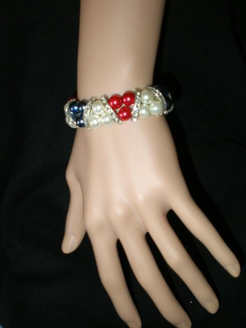 Primary image for New Red, White and Blue Rhinestone Stretch Faux Pearls  Bracelet