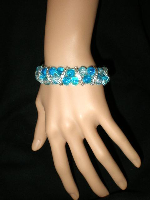Primary image for New !!   Blue Crackle Beaded Stretch Rhinestones 2 Row  Bracelet