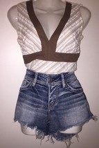 "Silver Jeans Distressed Denim Cut Off Shorts Fringe Daisy Duke Booty 26""... - $29.99"