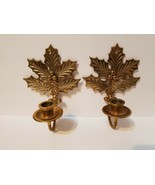 Set Of 2 Holly Leaf Poinsettia Berries Brass Candle Stick Holder Wall Ha... - $29.71