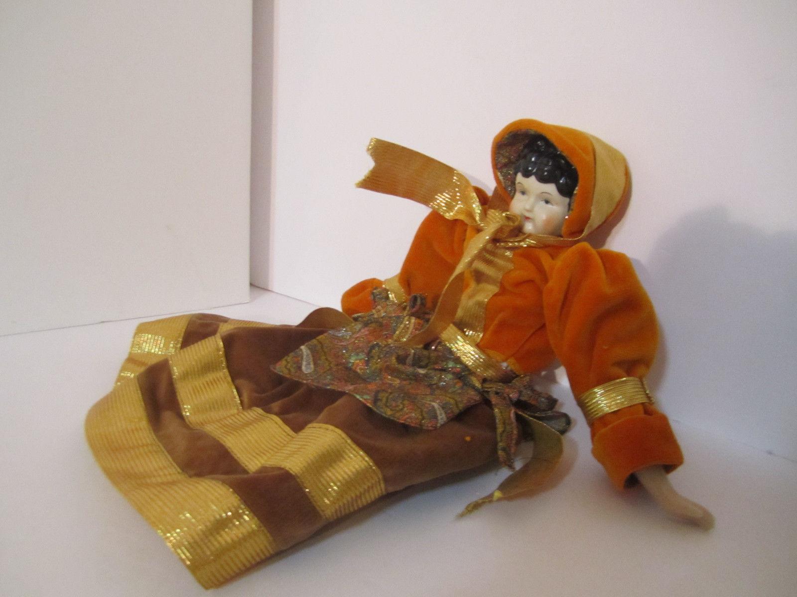 Elegant Repro Porcelain Brunette Doll Orange & Paisley Dress GORGEOUS! image 9