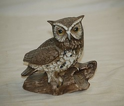 Vintage Bisque Horned Owl on Log Bird Figurine Curio Cabinet Shelf Decr e - $19.79