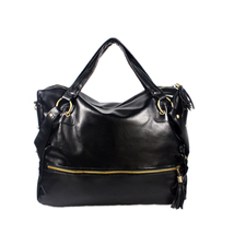 [Miranda Charm]Stylish Black Leatherette Handbag Tote Bag - $32.00
