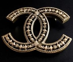 CHANEL Pale GOLD Metal CC Hollow Artisan Brooch... - $450.00