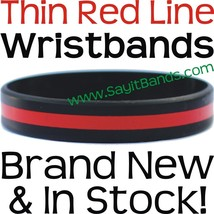 10 Thin RED Line Wristband Bracelets Police Officers Patrol Awareness Su... - $14.99