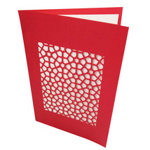 Handmade Red Color Hand Cut Paper Sanjhi Art Crafted Greeting Card - $14.03