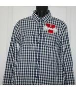 Iris Los Angeles Shirt Womens Size Large Blue Checkered Varsity Patch - $17.99