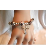 NeW Beaded Crucifix Cross Stretch Beaded Bracelet Stretch - $4.99