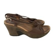 DANSKO Naomi Brown Leather Slingback Wedge Sandals Clogs Comfort Womens 38 / 7.5 - $28.79