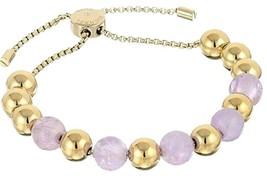 NWT Michael Kors Womens Purple Gold tone Beaded Stretch Bracelet MKJ5455710 - $59.39