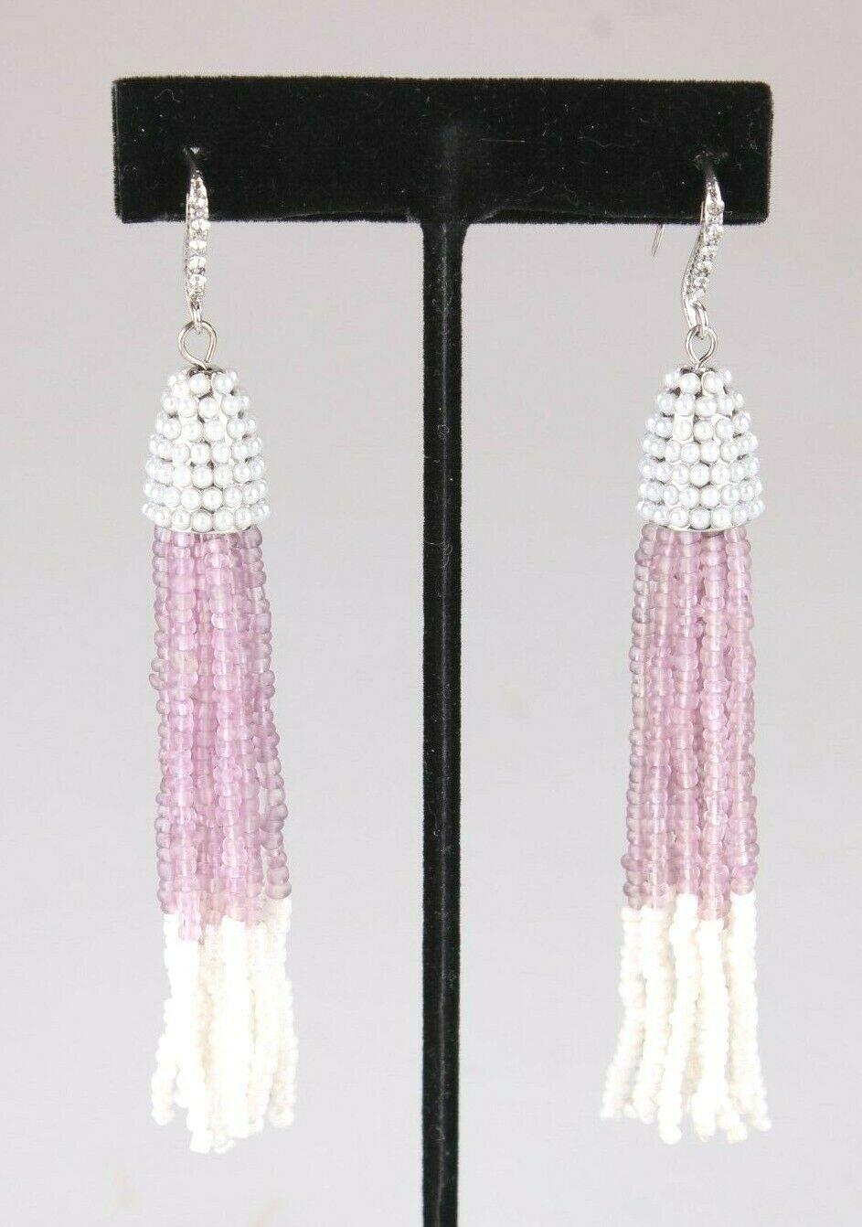 INC International Concepts Argent Ton Violet Blanc Perlé Gland Boucles Nwt