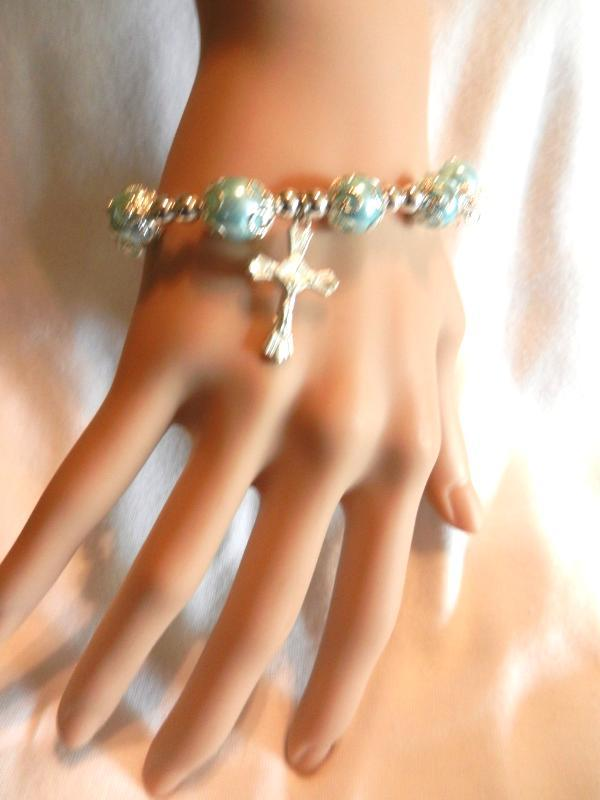 Primary image for NeW Sky Blue  Faux Pearls  Cross Crucifix Beaded Stretch Bracelet