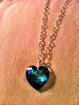 Swarovski Bermuda Blue Faceted Heart Sterling Silver Heart-Chain Necklace - $20.00