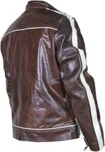 Cafe Racer Biker Copper Classic Distressed Brown White Stripes Leather Jacket image 3