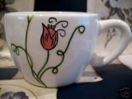 2006 STARBUCKS Coffee Mug Cup HAND PAINTED Flower Collectible Collector  - $14.95