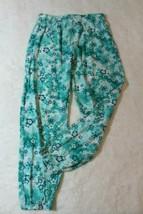 Disney Girls Palooza Pants Sz 7 8 Blue Floral Cinched Hems Casual Spring... - $15.67