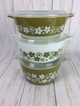 3 Pyrex Spring Blossom covered casserole dishes 471 472 473 Cinderella w... - $42.97