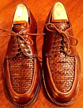 COLE HAAN Woven Basket Weave Lace Oxford Shoes Leather Sz 9 ITALY Drivin... - $34.60